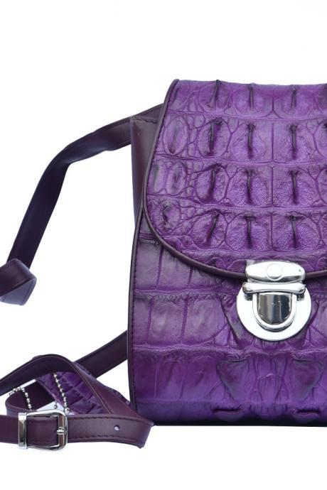 Adorable Royal Purple Innovative Material Palpable Crocodile Horn Back Leather Hand Bag