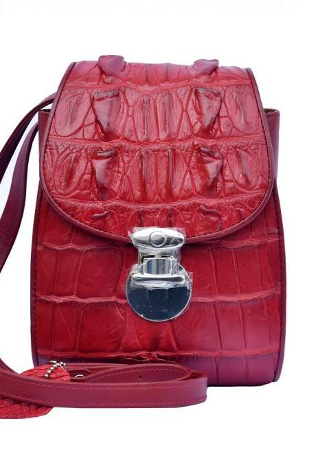Excelling Fire Red Horn Back Genuine Crocodile Leather Women Classy Hand Bag