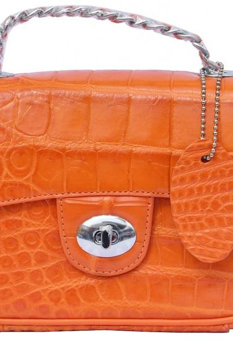 Gorgeous Tahiti Gold Orange Genuine Crocodile Belly Leather Ladies Hand Bag