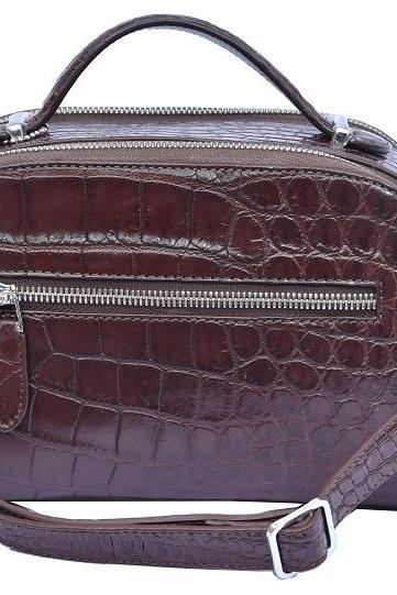 Sleek Design Crater Brown Precise Crocodile Belly Leather Ladies New Hand Bag