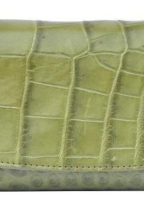 Wonderful Shape Light Green Trifold Style Premium Crocodile Belly Leather Clutch