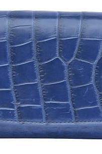Sophisticated Fun Blue Trifold Style Premium Crocodile Belly Leather Clutch