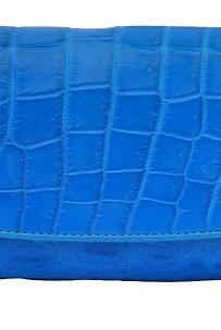 Gorgeous Shape Sky Blue Easy To Handle Crocodile Belly Leather Women Clutch