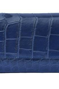 Latest Design Egyptian Blue Trifold Style Premium Crocodile Belly Leather Clutch