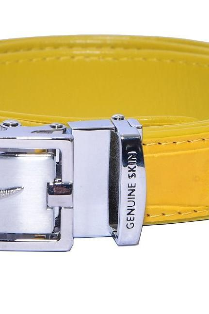 Nice Shape Yellow Color Auto Grip Buckle Crocodile Print Alligator Leather Belt