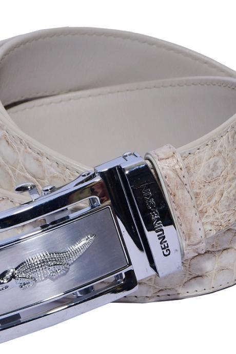 Royal Off White Auto Grip Silver Frame Genuine Crocodile Leather Belt
