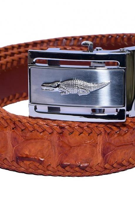 Optimal Tan Brown Top Stitching Silver Frame Box Crocodile Leather Men Belt