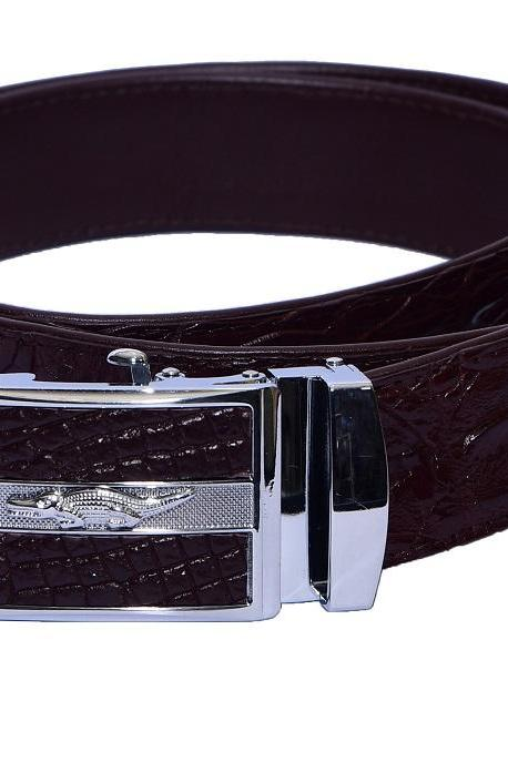 Luxury Chocolate Brown Crocodile Print Frame Alligator Horn Back Leather Belt