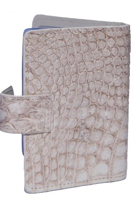 Favorite Choice White Color Classy Shape Genuine Crocodile Belly Leather Wallet