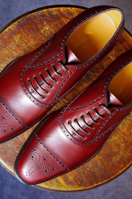 Handcrafted Sangria Red Out Class Design Genuine Leather Formal Business Shoes