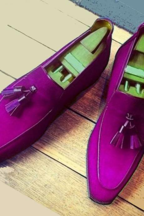 Conspicuous Eggplant Violet Apron Toe Pure Suede LEATHER Men Formal Wedding Shoes