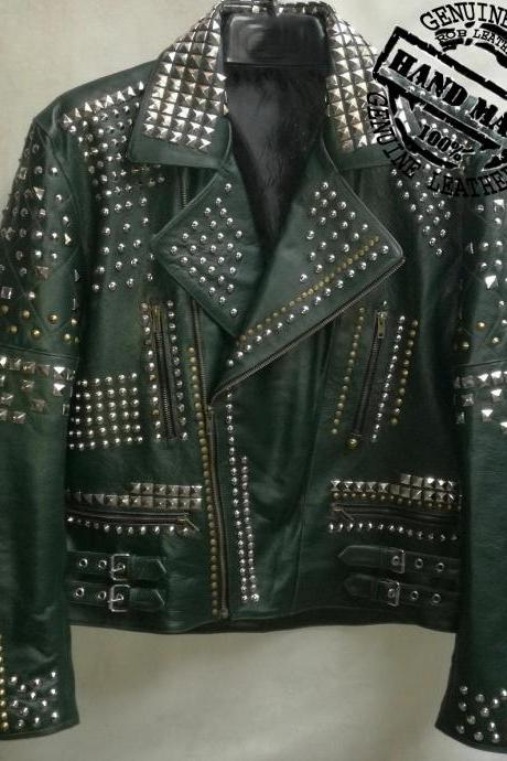 HANDMADE MEN FASHION JACKET REAL LEATHER SILVER STUDS BIKER STYLE BOMBER JACKET