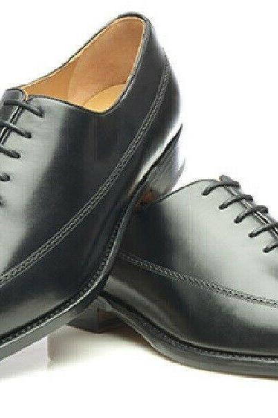 HANDMADE BLACK COLOR WINGTIP BROGUE LONGWING BALMORAL REAL LEATHER MEN DRESS SHOES