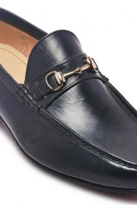 Black LOAFER Horse Bit Design Premium LEATHER Men Party Shoes Men Leather Pairs