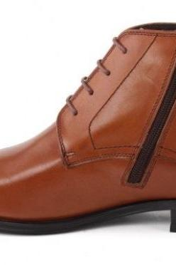 AMBROSIAL AMBER ORANGE NICE LOOKS STERLING LEATHER MEN CHUKKA ANKLE BOOTS