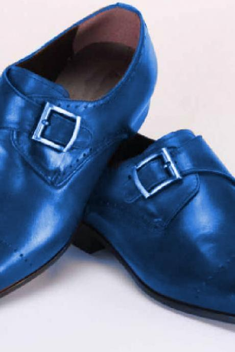 CUSTOMIZE NAVY BLUE MEDALLION TOE SINGLE STRAP PREMIUM LEATHER DRESS SHOES