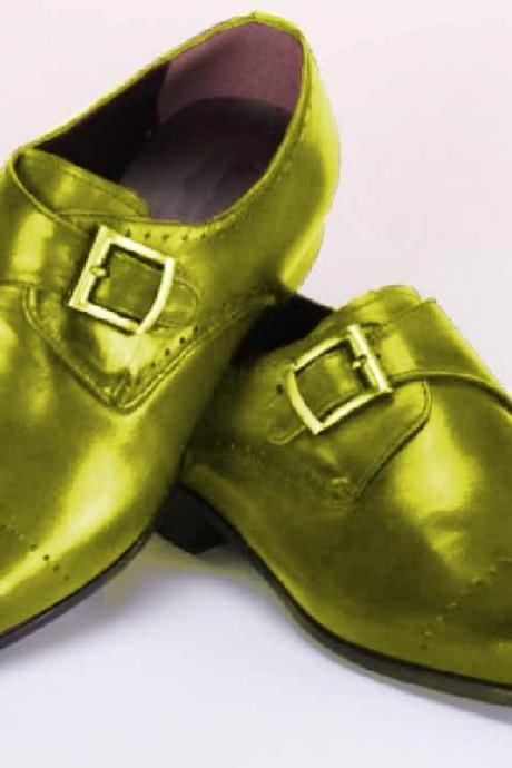 MADE TO HAND LIGHT GREEN MEDALLION TOE SINGLE STRAP PREMIUM LEATHER DRESS SHOES