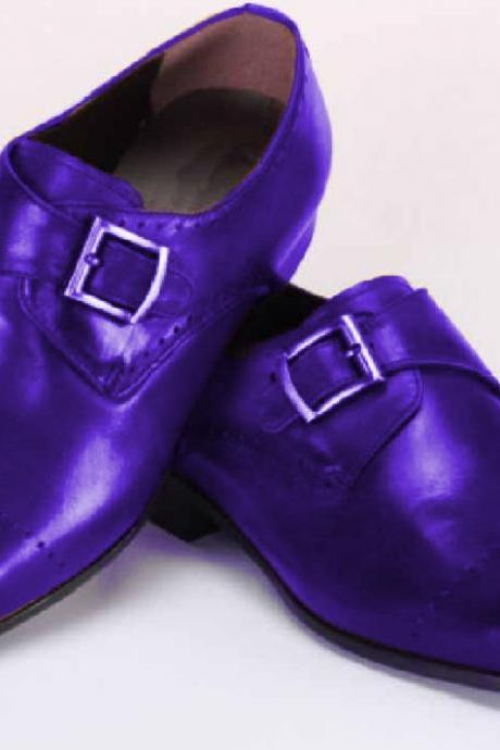 Customize Purple Brogue Toe Single Monk Strap Real Leather Men Party Shoes