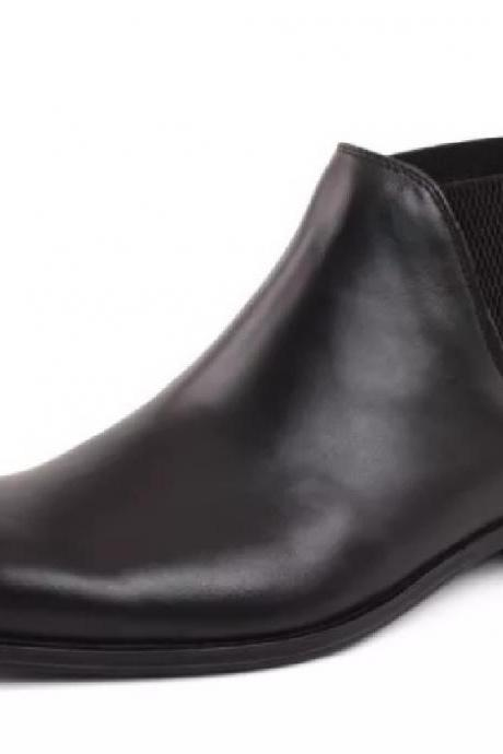 Made To Order Color Comfortable Black Slip On Elastic Panel Real Leather Men Chelsea Boots