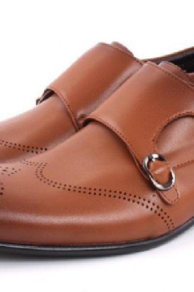 HANDMADE TAN BROGUE WINGTIP REAL LEATHER MEN FORMAL DRESS MONK SHOES