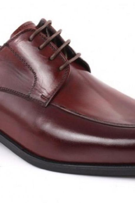 Customize Burgundy Office Wears Derby Style Genuine Leather Men Business Shoes