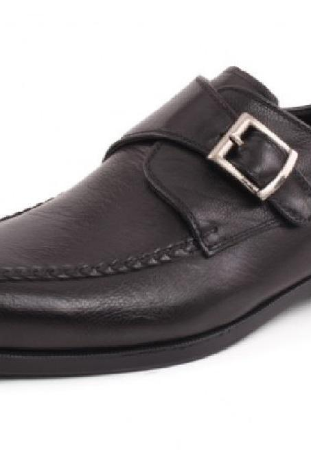 Monk Style Chocolate Brown Single Strap Pure Leather Men Dress Shoes