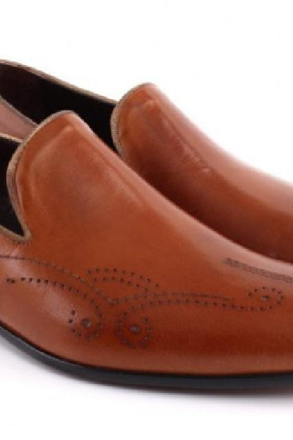 Made To Order Tan Brown Brogue Moccasin Premium Leather Men Wedding Shoes