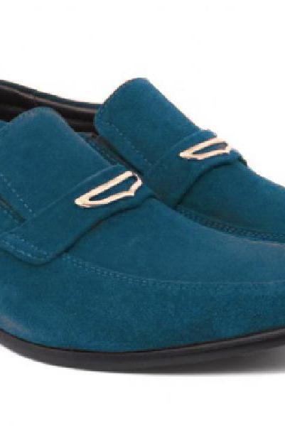 Stylish Blue Color Suede Leather Horsebit Loafer Men Party Shoes