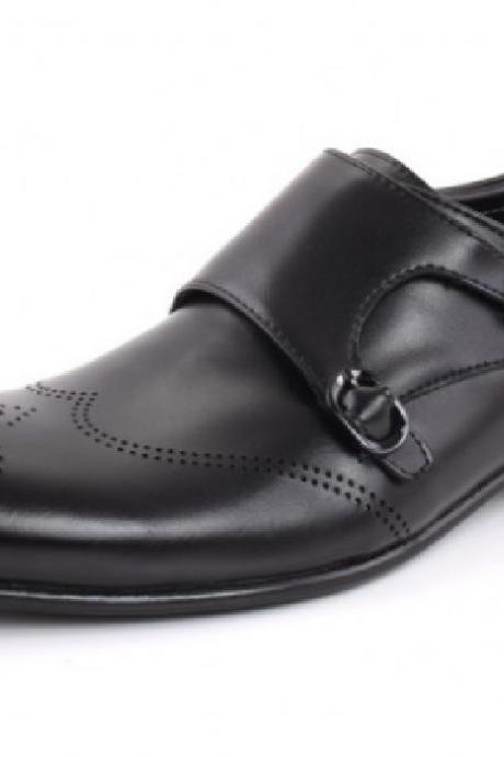 Royal Superior Black Monk Dual Strap Premium Leather Men Business Shoes