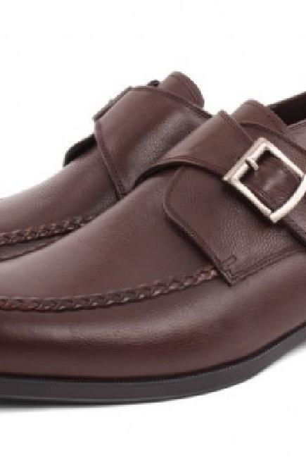 Lovely Shoes Monk Style Tan Brown Sterling Leather Men Business Shoes
