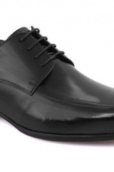 Stylish School Business Shoes Black Polish Lace Up Real Leather Men Formal Dress Shoes