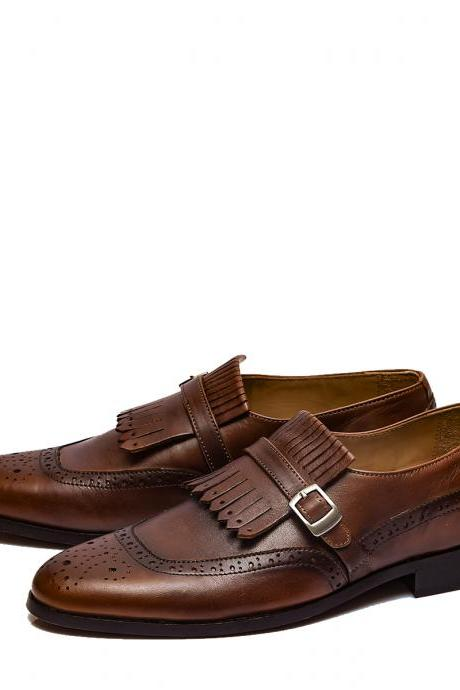 Optimal Stylish Wooden Brown Fringes Buckle Strap Premium Leather Men Wedding Shoes