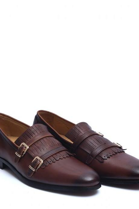 Gorgeous Brown Color Double Buckle Strap Fringes Genuine Leather Men Dress Shoes