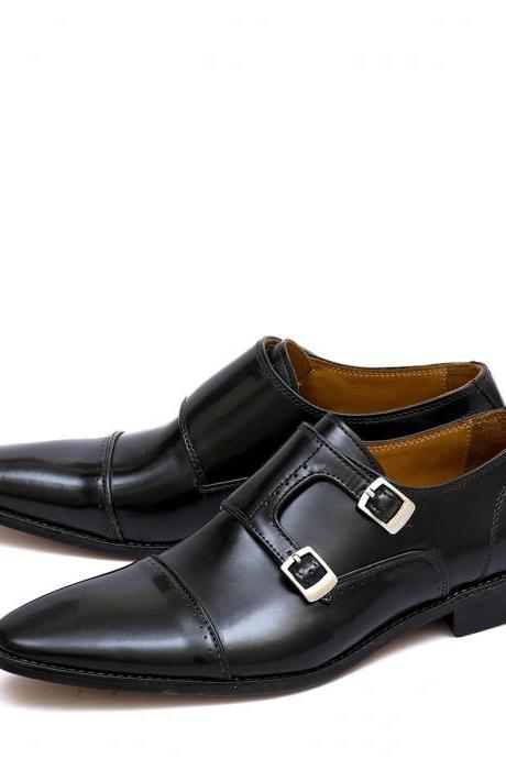 Ingallible Black Color Double Strap Buckle Closure Real Leather Men Dress Shoes