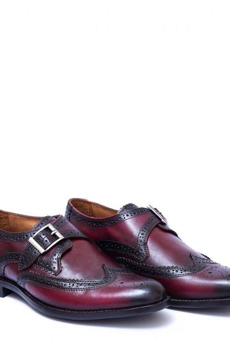 Handmade Burgundy Color Full Brogue Single Strap Genuine Leather Men Business Shoes