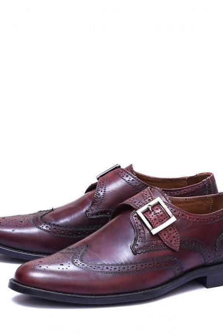 Handmade Burgundy Patina Brogue Toe Wingtip Genuine Leather Men Monk Business Shoes