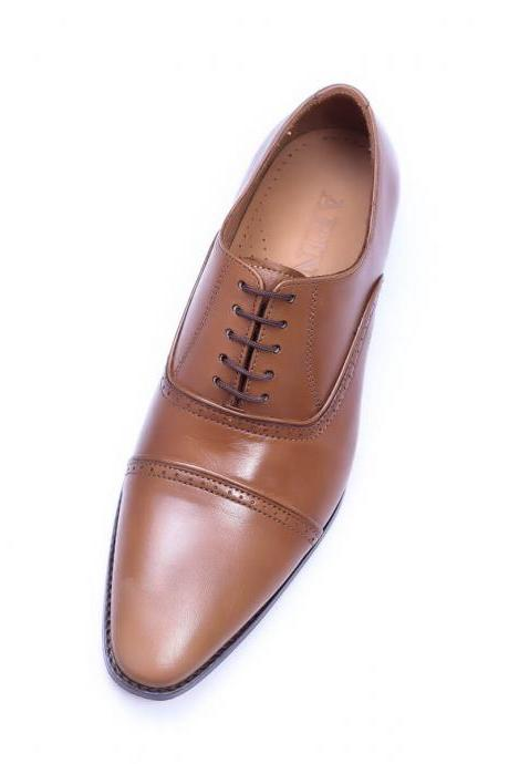 Customize Tan Color Pointed Cap Toe Pure Leather Formal Lace Up Shoes For Men