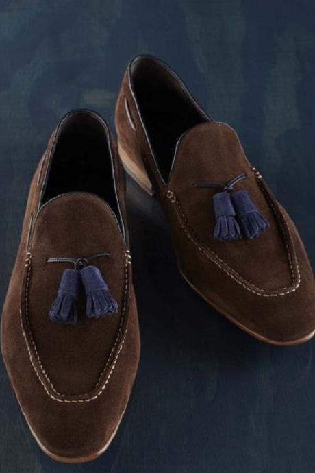 Adorable Loafers Customize Brown Suede Leather Blue Tassels Men Handmade Slip On Formal Shoes