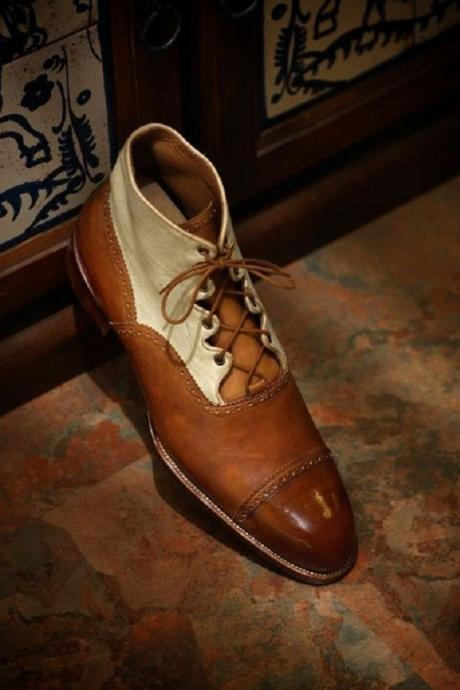 Optimal Men Two Tone Beige Brown Cap Toe Real Leather Balmoral Lace Up Ankle Boots
