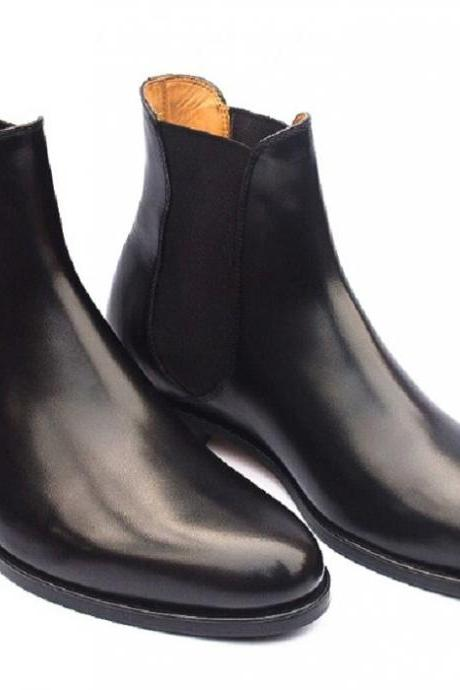 Customize Black Single Plain Vamp Chelsea Elastic Panel Real Leather Men Slip On Formal Boots