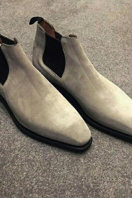 Men Chelsea White Suede Leather Elastic Panel Handmade Pull Loop Formal Slip On Boots