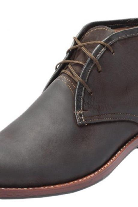 Made To Order Chukka Gray Lace Up Genuine Leather Contrast Sole Men Handmade Formal Ankle Boots 7-16