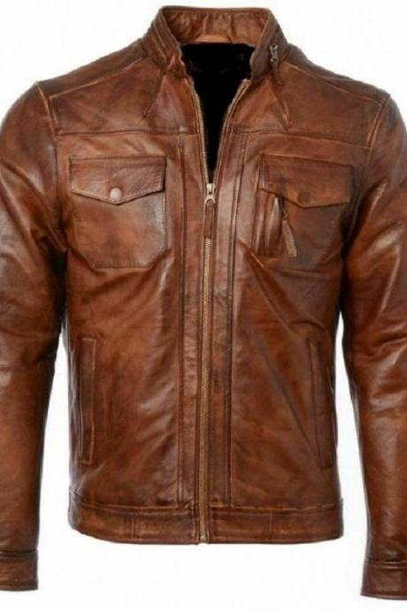 Made To Order Brown Color Bomber Zippered Pockets Cow Hide Leather Men Handmade Moto Fashion Jacket