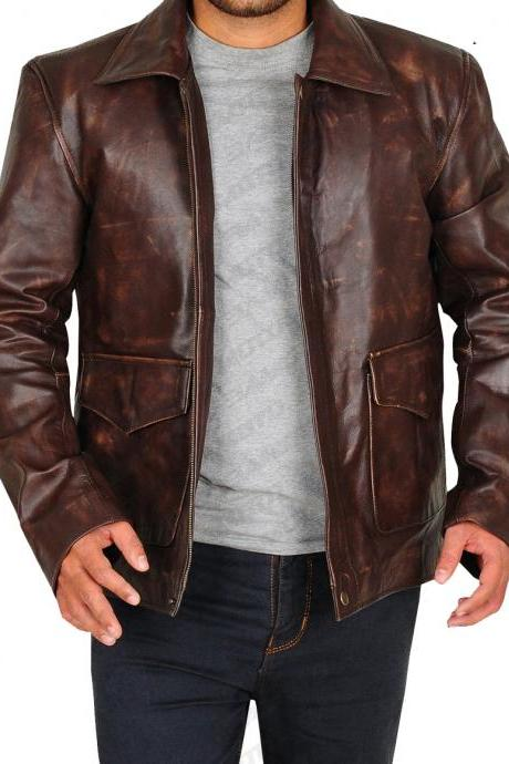 Made To Order Distressed Brown Spread Collar Zippered Genuine Cow Hide Leather Men Handmade Button Fashion Jacket