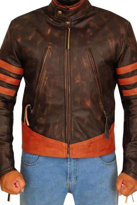Motorbike Distressed Brown Zippered Button Tab Collar Cow Skin Leather Handmade Pockets Moto Racers Fashion Jacket