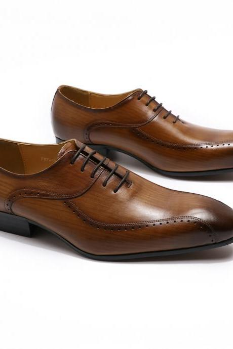 Made To Hand Tan Brown Lace Up Real Cow Skin Leather Men Handmade Oxford Formal Dress Shoes