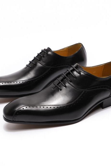 Men Oxford Black Polish Handmade Lace Up Genuine Cow Hide Leather Formal Dress Shoes