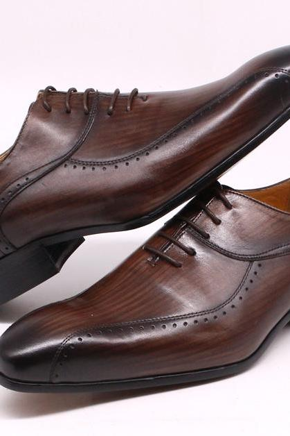 Made To Order Dark Brown Lace Up Closure Genuine Cowhide Leather Men Handmade Oxford Formal Dress Shoes
