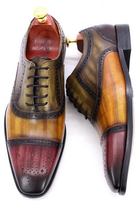 Handmade Oxford Brogue Cap Toe Multicolor Genuine Cowhide Leather Men Lace Up Formal Dress Shoes