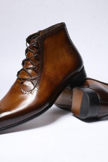 Handmade Oxford Patent Brogue Toe Brown Patina Real Cowhide Leather Men Zippered Formal Dress Ankle Boots